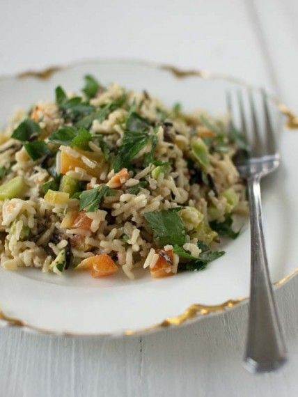 Wild Rice Salad with Lemon-Tahini Dressing