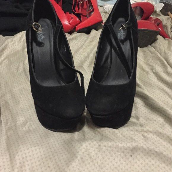 Black crazy heels Self explanatory black heelless heels 6 inch heels Charlotte Russe Shoes Platforms