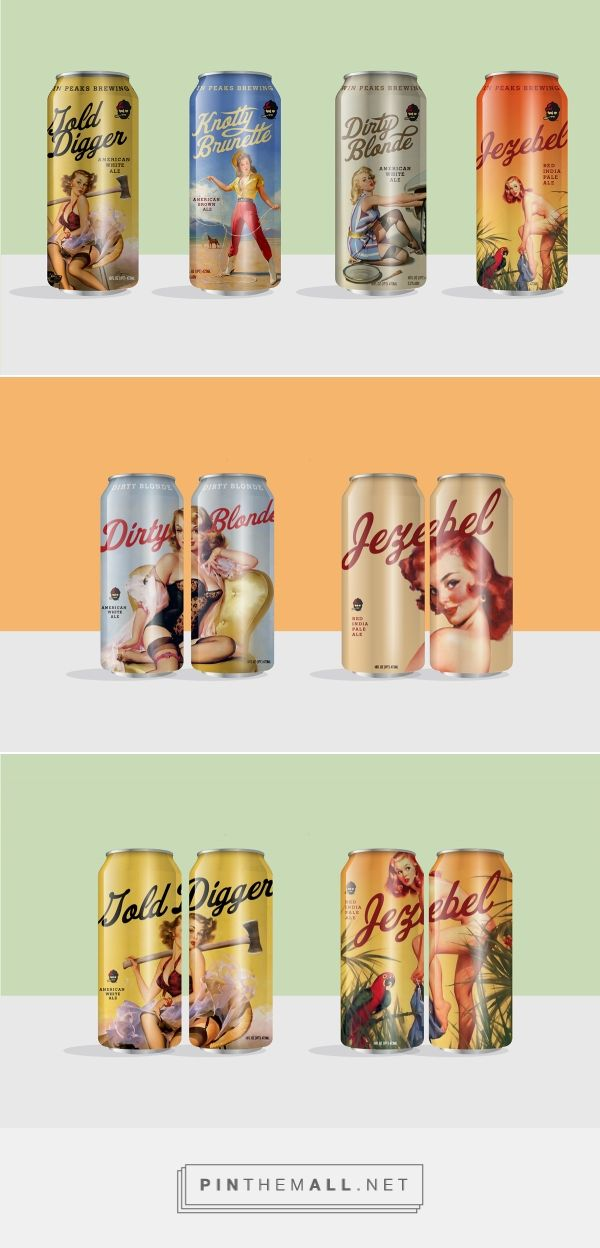 Graphic design, packaging and typography for Twin Peaks Brewing Co. on Behance by Tractorbeam ® Dallas, Tx curated by Packaging Diva PD. iconic American artwork creates compelling packaging that practically begs to be picked up.