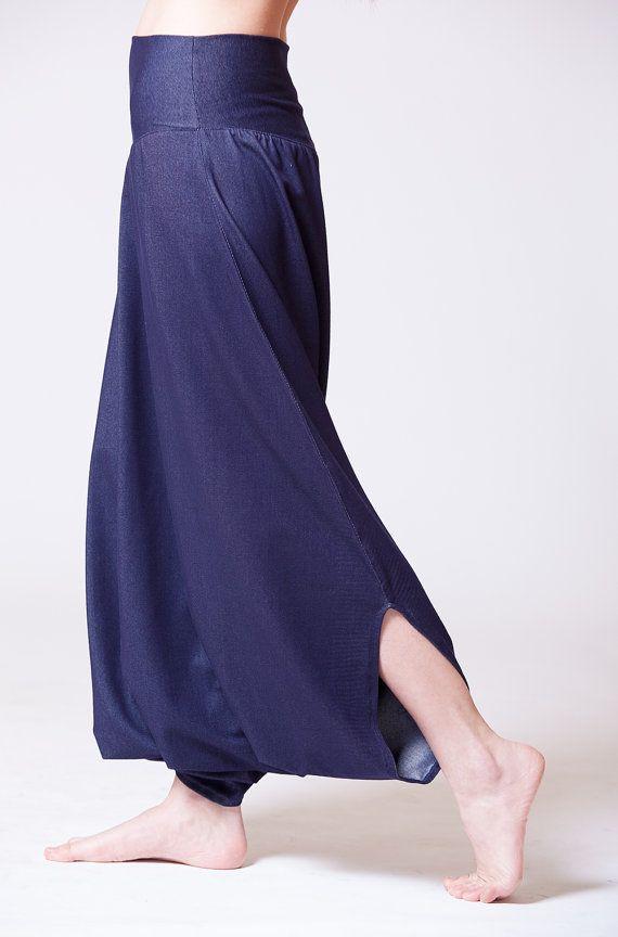 Blue Black Denim-looking Harem Pants Jeans Royal by MichalRomem