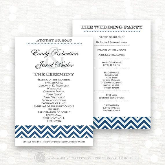 Printable Wedding Programs Instant download EDITABLE Navy Blue Chevron Template - DIY Ceremony Programs - Digital Wedding Program Cards #AmeliyCom #DoItYourself