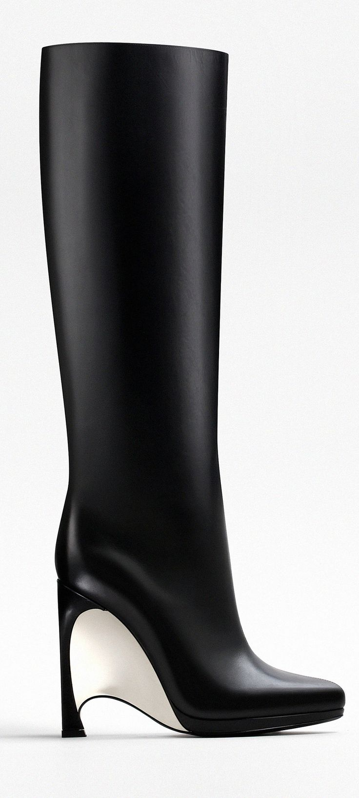 Dior FW2014 ~ black leather boot enhanced with a mirror effect wedge heel