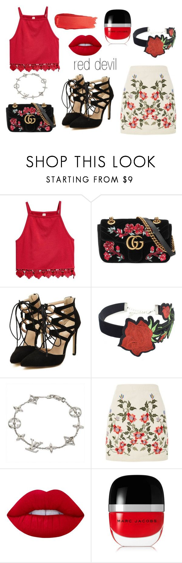"""""""Red devil"""" by kovacslilla on Polyvore featuring Gucci, WithChic, Louis Vuitton, Topshop, Lime Crime, Marc Jacobs and Bobbi Brown Cosmetics"""