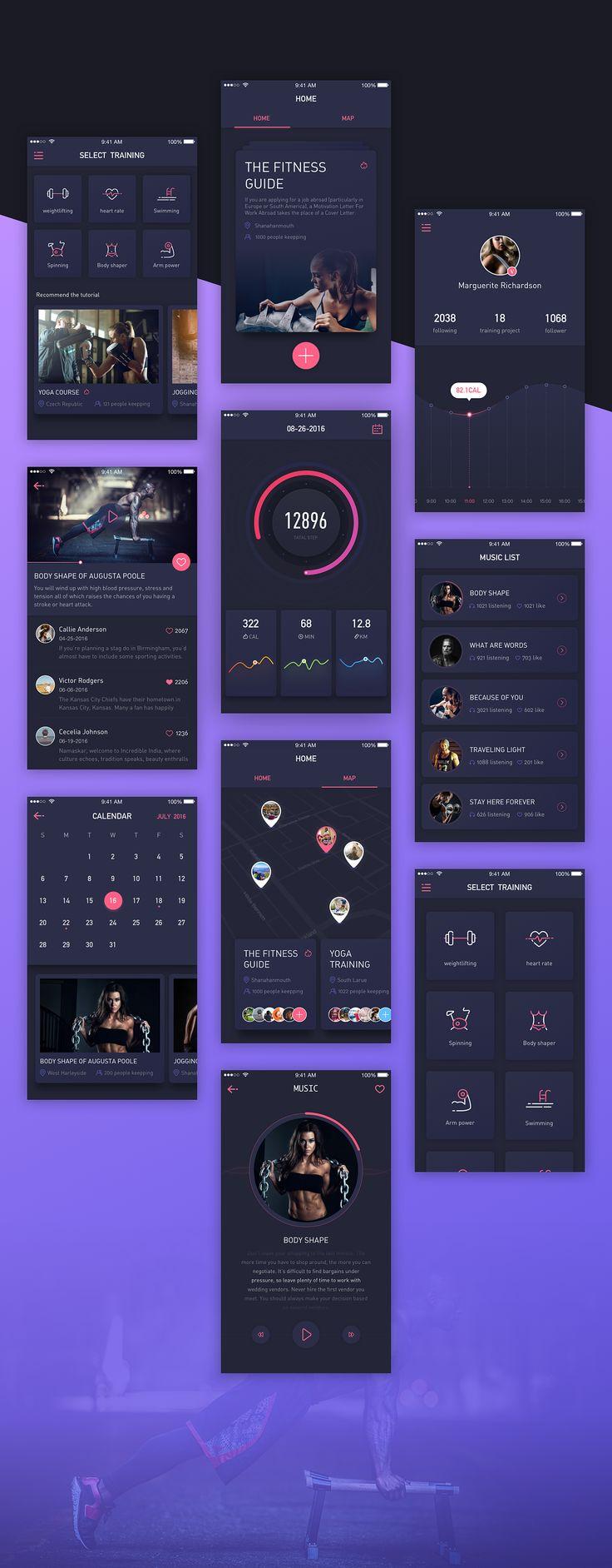 关于健身app的视觉风格探索|UI|APP界面|伪艺术的仨仨 - 原创作品 - 站酷 (ZCOOL)