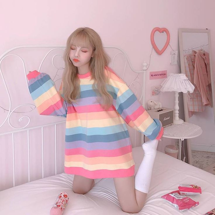 Style: Korean, Soft, Pastel Goth, Vsco Girl, Kawaii, RainbowMaterial: CottonMaterial: PolyesterDecoration: NONETops Type: TeesPattern Type: GeometricItem Type: TopsSleeve Length(cm): FullSleeve Style: REGULARFabric Type: BroadclothGender: WOMENCollar: O-NeckClothing Length: REGULAR Size (cm) Length Sleeve Bust Shoulder M 63 48 104 48 L 65 50 108 50 XL 67 52 112 52 XXL 69 54 116 54 Cosmique Studio is an online Aesthetic Clothing store. We featuring the most popular aesthetic outfits, grunge… Harajuku Mode, Harajuku Fashion, Kawaii Fashion, Cute Fashion, Girl Fashion, Harajuku Clothing, Ulzzang Fashion, Lolita Fashion, Ladies Fashion