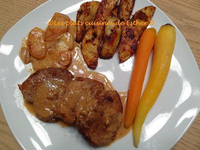 Les plats cuisinés de Esther B: Médaillons de porc, sauce crémeuse aux pommes