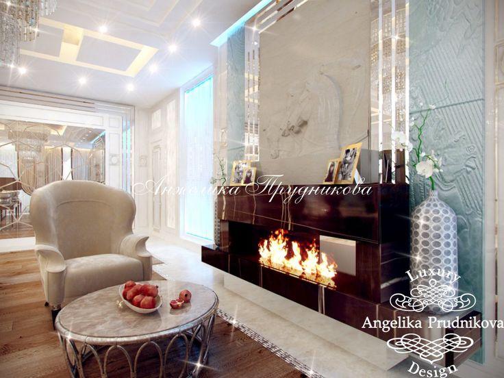 Дизайн проект интерьера гостиной стиле Ар Деко в Барвихе - фото