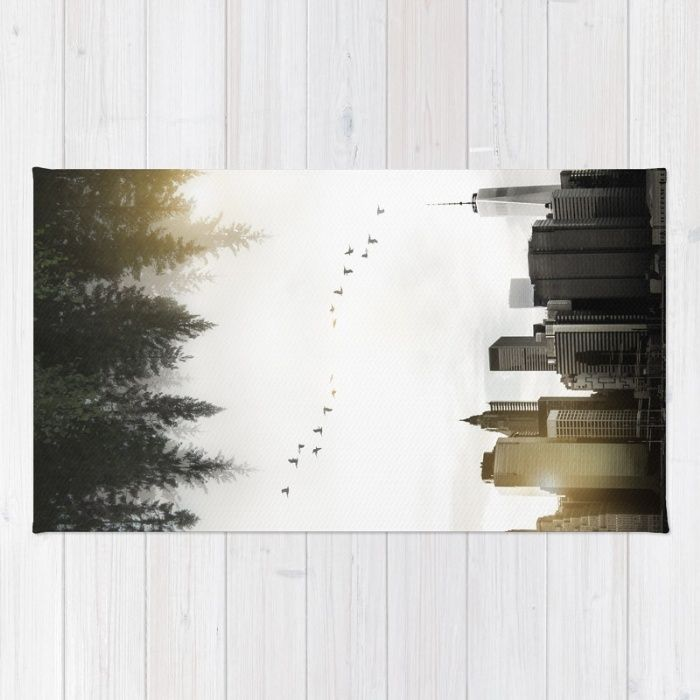 Duality Rug by Nicklas Gustafsson | Society6  #duality #juxtaposition #doubleexposure #doubleexpo #upsidedown #nature #forest #landscape #city #newyork #skyline #rug #homedecor