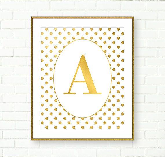 Monogramme or, sticker or, monogramme imprimable, pépinière or, sticker Glam, vanité Decor, Polka Dot, personnalisée, téléchargement immédiat, or