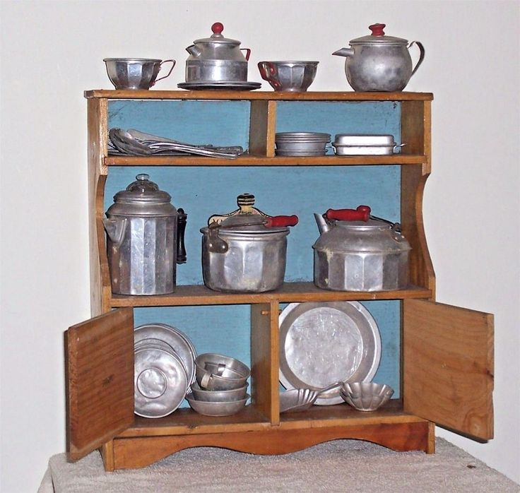 Vintage Toy Mary Lu Wooden Cupboard w/ Aluminum Cookware Dishes Utensils #MaryLuJCPenney