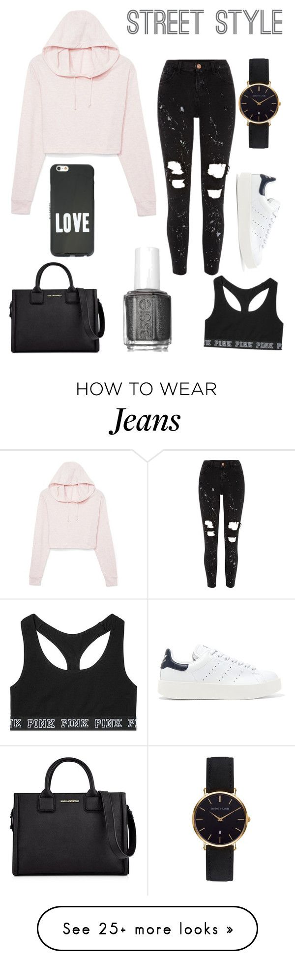 """Contest: pink cropped hoodie+black ripped jeans"" by emilierobidas on Polyvore featuring River Island, Abbott Lyon, Victoria's Secret, adidas Originals, Karl Lagerfeld, Givenchy and Essie"