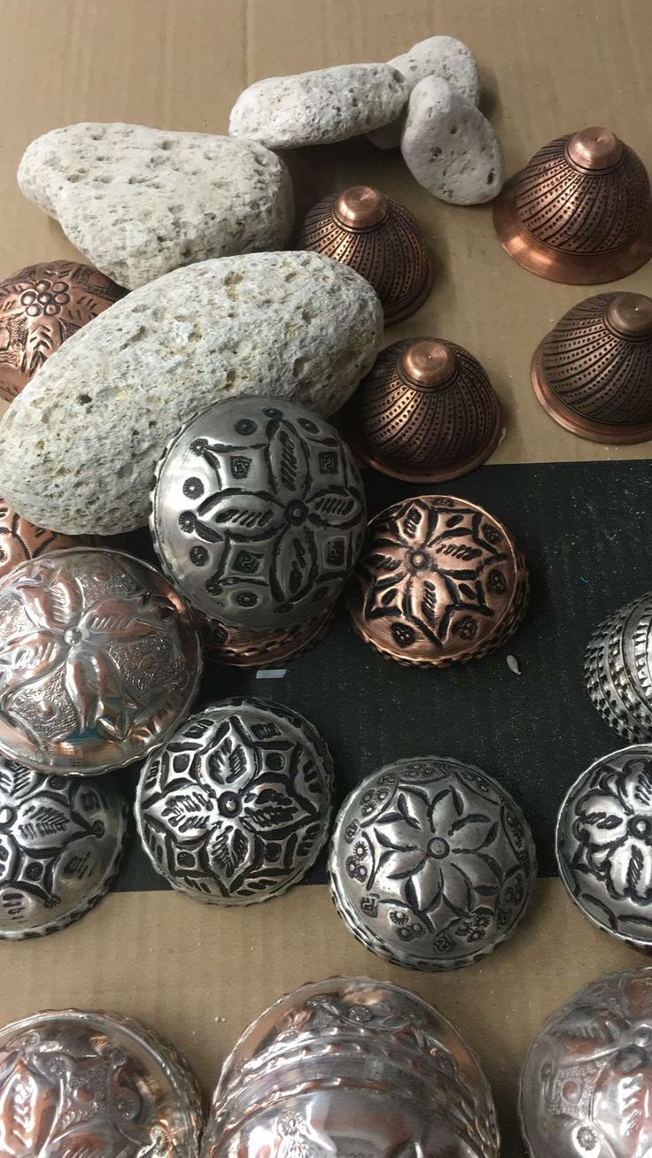 The Ottomans covered pumice stones with beautiful hand-hammered copper.   Available at Jennifer's Hamam, each unique piece is handmade by coppersmiths.  #jennifershamam #copper #artisan #handmade #bath #pumice #Ottoman