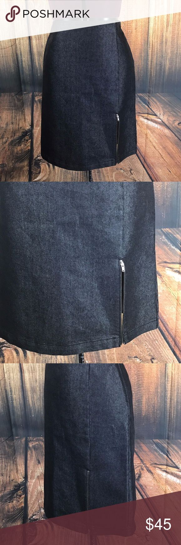 """A/X Armani Exchange Black Zip Vent Pencil Skirt Fabulous skirt by AX Armani Exchange  Denim feel skirt  Side zip  Zip vents, one on front and one in back  60% Cotton, 40% polyester  Size 4  Measures 14"""" across waistband, flat  Measures 22"""" long  Gently worn, good condition  Very cute skirt! Throw on an oversized sweater, tall boots and leggings and be on trend! A/X Armani Exchange Skirts Pencil"""