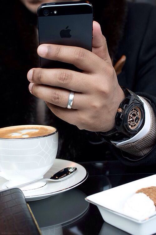 Everything in this pic sits just right from the design on the cup to the watch, the blackness of the phone etc. etc. etc.