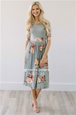 Sage Floral Dress Pleated Modest Dress Bridesmaids Dress, Church Dresses, dresses for church, modest bridesmaids dresses, trendy modest dresses, modest womens clothing, affordable boutique dresses, cute modest dresses