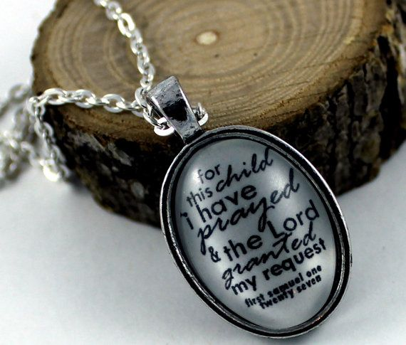 1 Samuel 1:27 For this child I prayed, and the LORD has granted me my petition that I made to him. Vintage Style Christian Pendant necklace by the Hymn Drop Shoppe