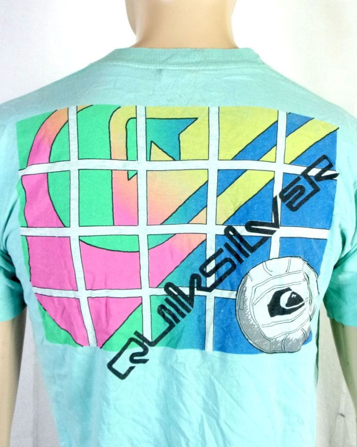 vtg 80s Quicksilver old Faded Neon Logos Volleyball T-Shirt Skate Surf sz M/L