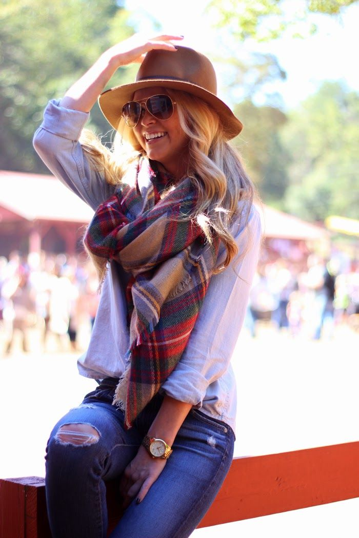 jeans, white button up, oversized scarf, hat