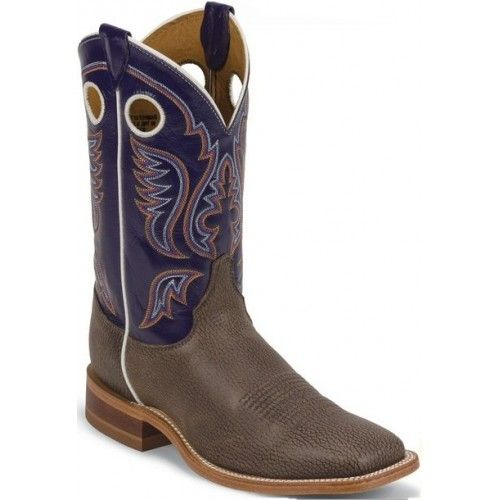 Bent Rail by Justin Cowboy Boots Chocolate Bisonte Cow Mens Cowboy Boots