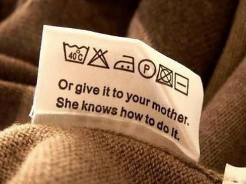 Instructions how to wash your clothes. Do not worry about the symbols, read the text only.