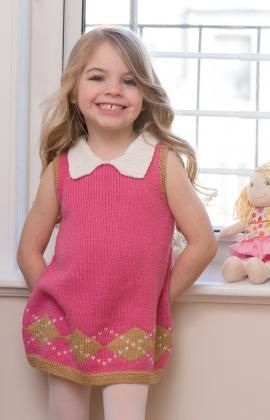 Sweet Argyle Dress Free Knitting Pattern from Red Heart Yarns
