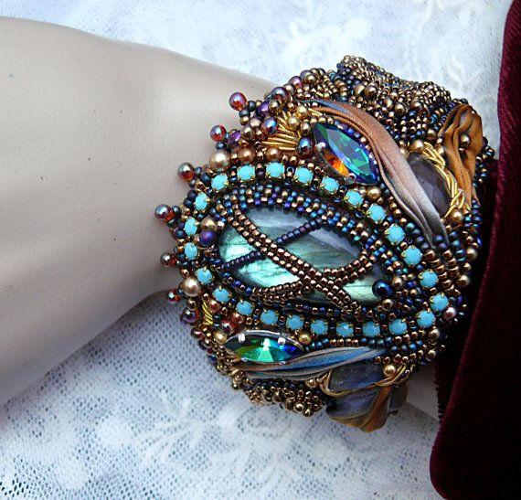 Bead embroidered cuff bracelet Shibori silk ribbon by MaewaDesign