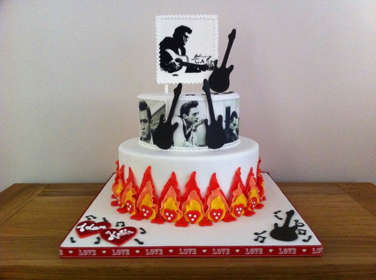 Johnny Cash themed cake, made by me!