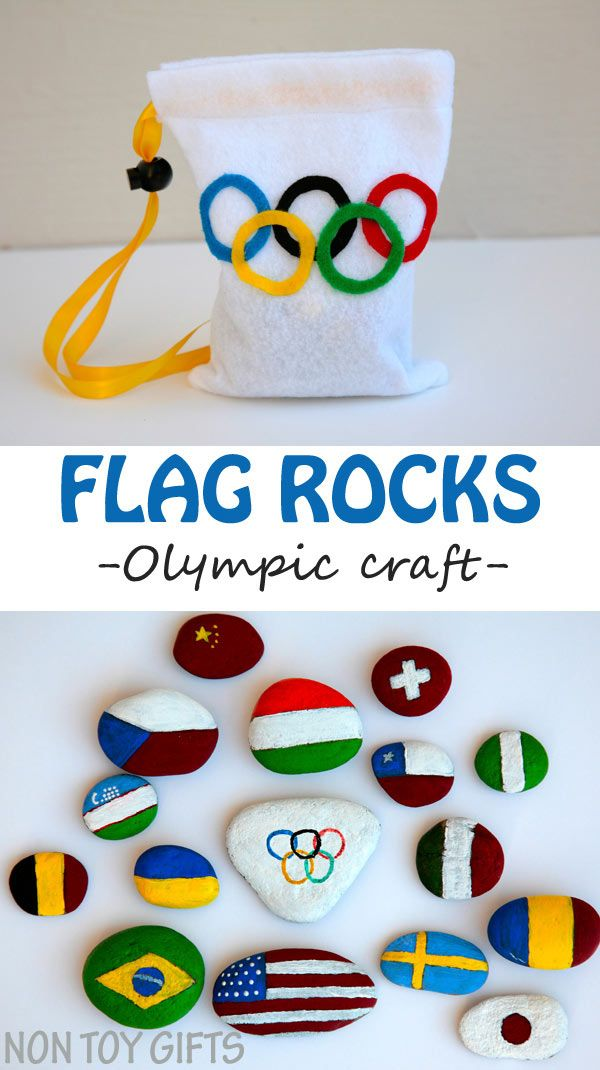 Painted flag rocks - a creative and educational Olympic craft. A great opportunity for kids to learn about the participating countries to the Olympics.   at Non Toy Gifts