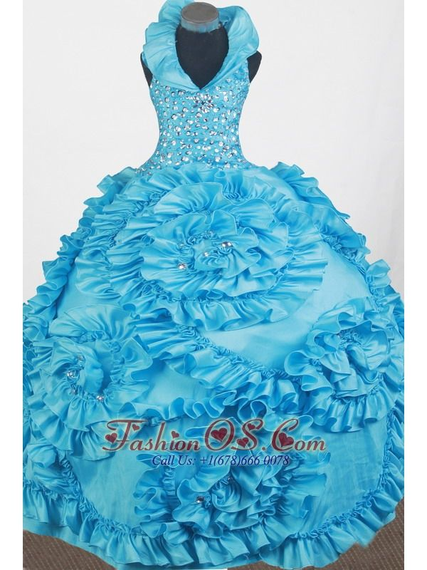 Luxurious Beading Hand Made Flowers Ball Gown Little Girl Pageant Dress Halter Top Floor-length- $186.59 www.fashionos.com luxurious and fancinating petite miss dresses | 2013 brilliant and fabulous little girl pageant dress | bright and attractive little miss dresses | glimmering and shinning little girl pageant dresses of most beautiful child | glamorous and wonderful dresses for glitz pageants 2015 spring | new and charming dresses of baby miss in tourcoing |