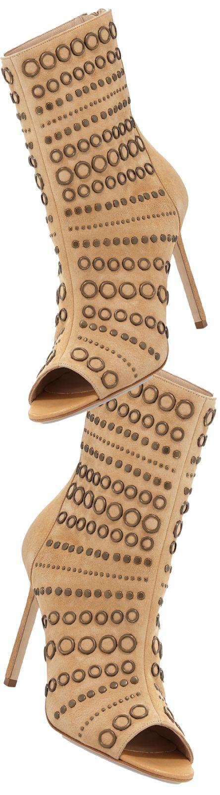 Manolo Blahnik Baskegrod Open-Toe Grommet Suede Ankle Boot, Camel - LOOKandLOVEwithLOLO