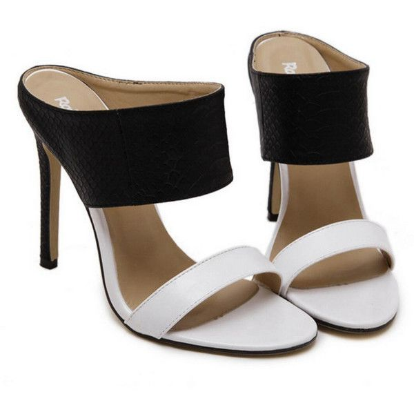 Europe Black White Color Blocking Serpentine High Heel Sandals (115 HRK) ❤ liked on Polyvore featuring shoes, sandals, block-heel sandals, white black shoes, heeled sandals, block shoes and white and black sandals