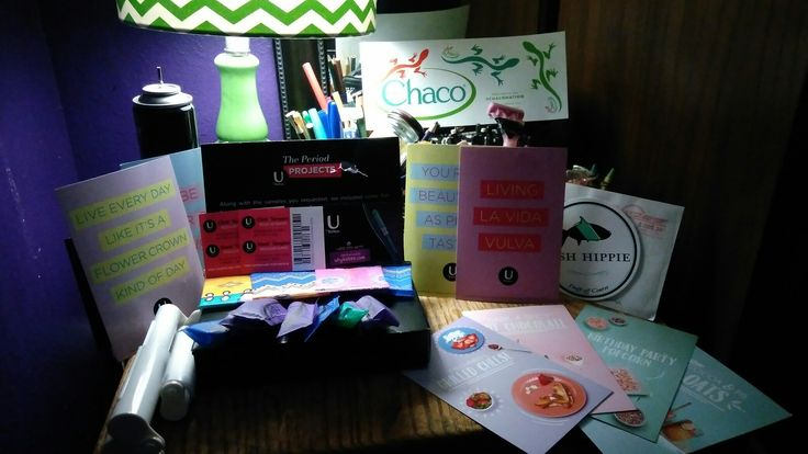 Thank you #Chaco, #U by Kotex, #Fish Hippie, and #charmin for your free awesome samples! I definitely couldn't have done this though without vonbeau.com! This picture includes tampons, liners, $1 tampon coupons, 1 fish hippy sticker, 1 chaco  sticker sheet, and so much more!!!!