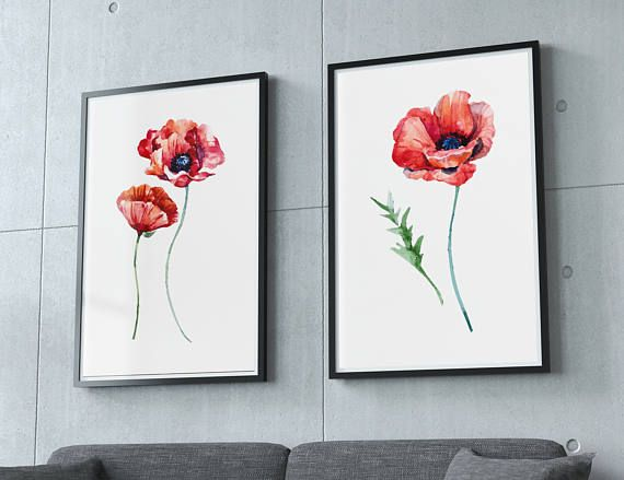 Floral wall art set of 2 prints red poppy home decor poppy