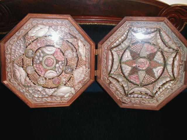 Archive photo: Sailor's Valentines belonged to Capt. John Crowell who died in 1864.  Gift of his grandson, John H. Crowell. Double shadow boxes,hinged, octagon shape, rosewood cases with glass fronts, containing various shells in different  colors arranged in geometric or floral patterns.  Made in Barbados of native shells. Circa 1800s. Accession: 1926.519.001        #atwoodhouse, #sailorsvalentine, #chatham, #capecod, #sailor