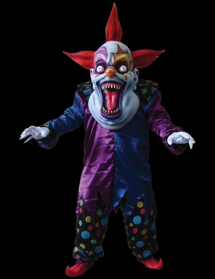 evil clown purpleblue colorful creepy clown suit includes tunic pants and collar with shoes and hands oversized mask - Clown Halloween Decorations