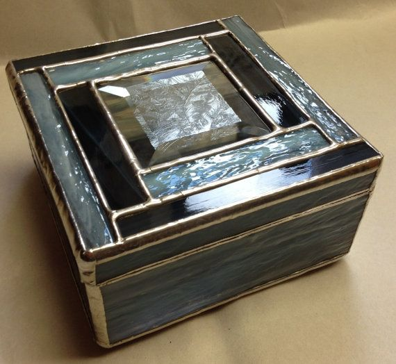 Stained Glass Jewelry Box  Blue Storm by PeaceLuvGlass on Etsy, $42.00