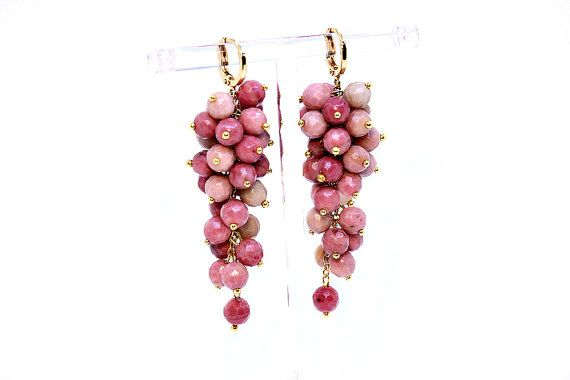 Rhodochrosite cluster earrings Natural by Femalehappiness on Etsy