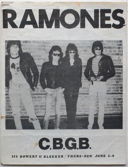 The Ramones at CBGBs flyer,June 1975.