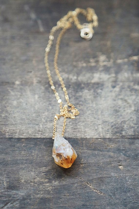 Raw Citrine Necklace Gold and Citrine Pendant by AmuletteJewelry