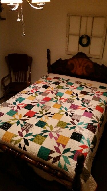 My Hunters Star Quilt Using Missouri Star Quilt Company Tutorial. I LOVE IT. ♡♡ Giving to my oldest son and his wife.