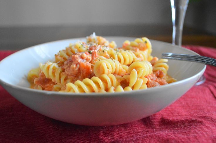 Homemade Vodka Sauce with Crabmeat over Rotini