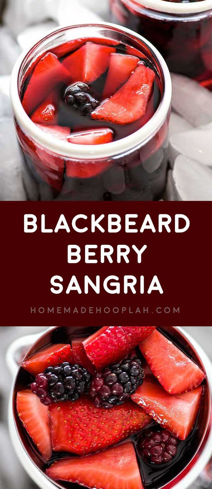 Blackbeard Berry Sangria! Blackberries and strawberries come together with a sweet red wine and a kick of Absinthe to make this very berry sangria! | HomemadeHooplah.com