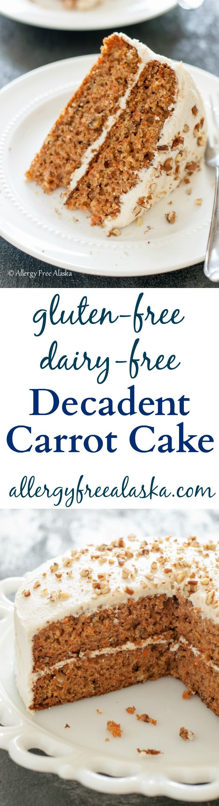 Absolutely delicious Gluten Free Dairy Free Decadent Carrot Cake from Allergy Free Alaska. I LOVE this cake!