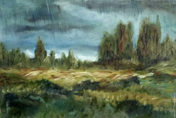 Купить Дождь в степи. - оливковый, дождь, степь, картина в подарок, деревья…
