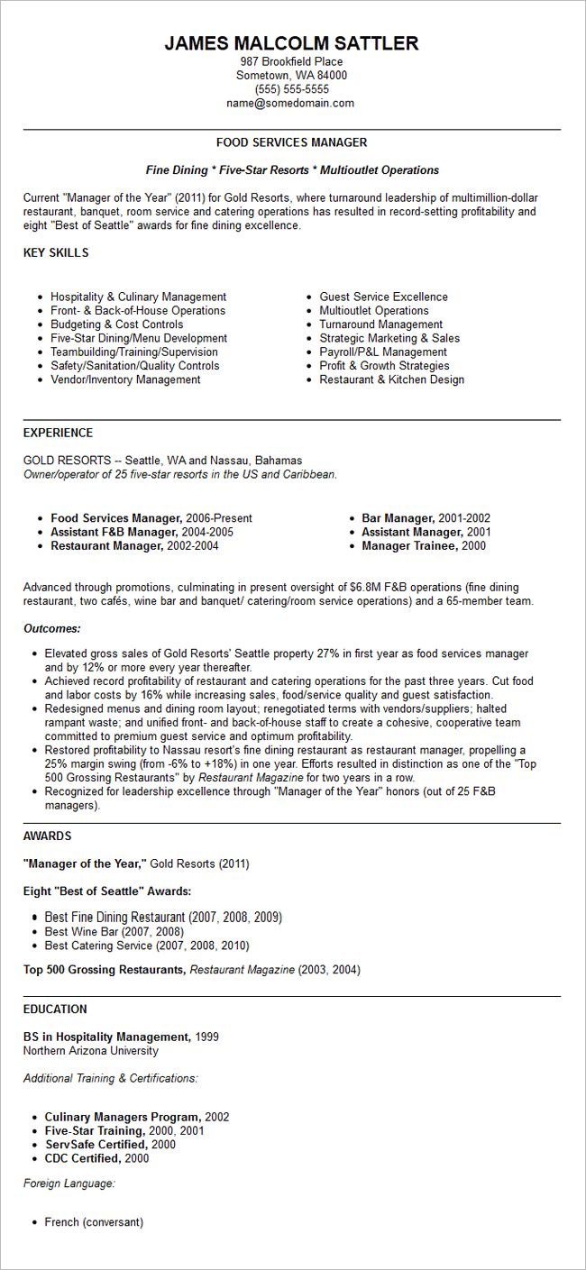 Resume restaurant manager resume template free resume for Resume templates for restaurant managers