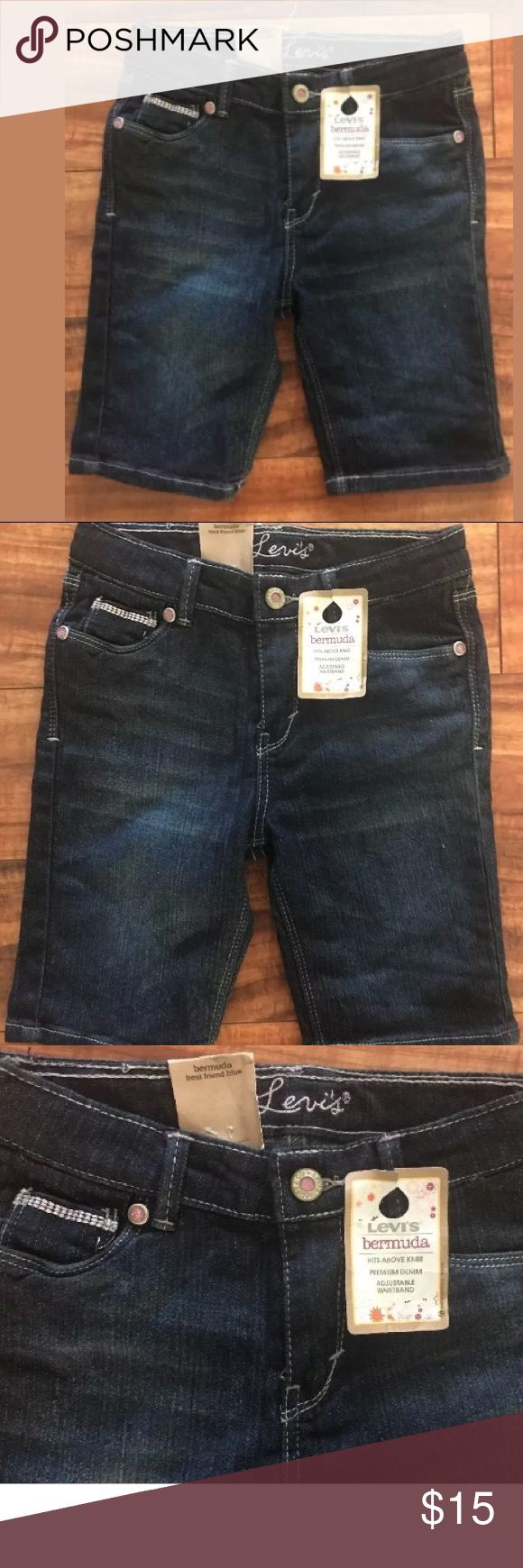 Levi's size 6X Bermuda shorts dark denim jeans Levi's  Bermuda  Size 6X  Brand new with tags ($34 from Macy's)  Adjustable inside waistband  52% Ramie 28% cotton 18% polyester 2% spandex Levi's Bottoms Shorts
