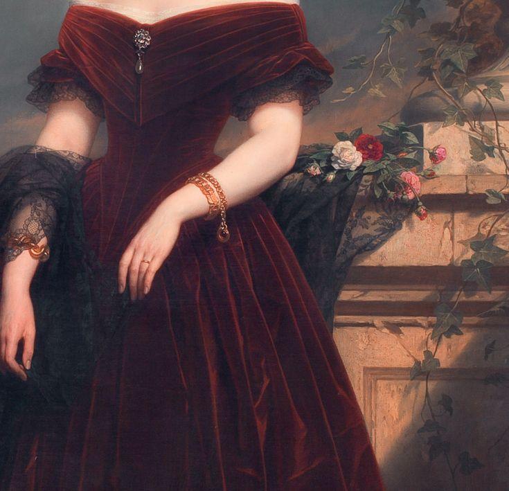 detailsofpaintings:  Nicaise de Keyser, Isabelle Antoinette Barones Sloet van Toutenburg (detail) 1852