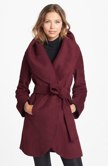 Tahari 'Marla' Cutaway Wrap Coat with Oversized Collar (Online Only) available at #Nordstrom