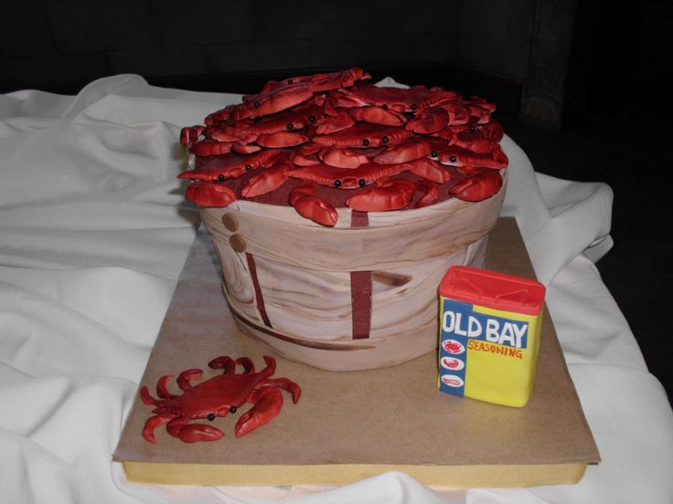 Ming and Tom's grooms cake.  Bushel of Crabs.  Crabs, bushel and old bay tin all edible.