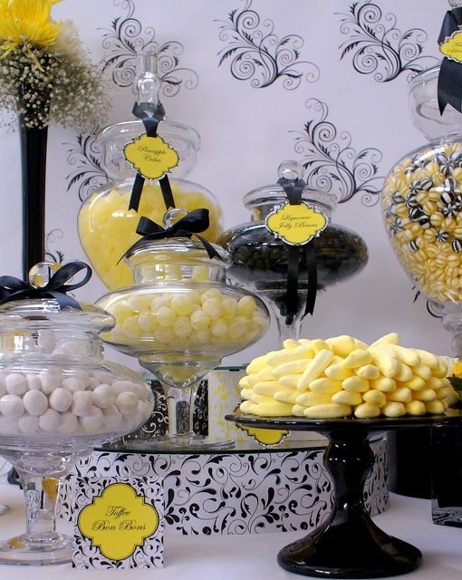 Black, White & Yellow Wedding Candy Buffet by The Couture Candy Buffet Company, via Flickr   #candybuffet  #candy #dessertbuffet  #wedding    yellow and black